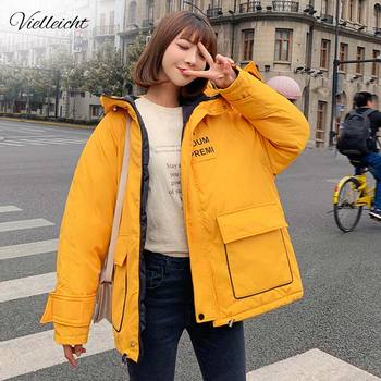 Vielleicht New 2019 Winter Jacket Women Two Big Pockets Hooded Female Cotton Padded Outwear Winter Coat Women's Loose Parkas new large fur down jacket winter women 2020 new fashion loose hooded cotton padded jacket coat female thick long parkas outwear