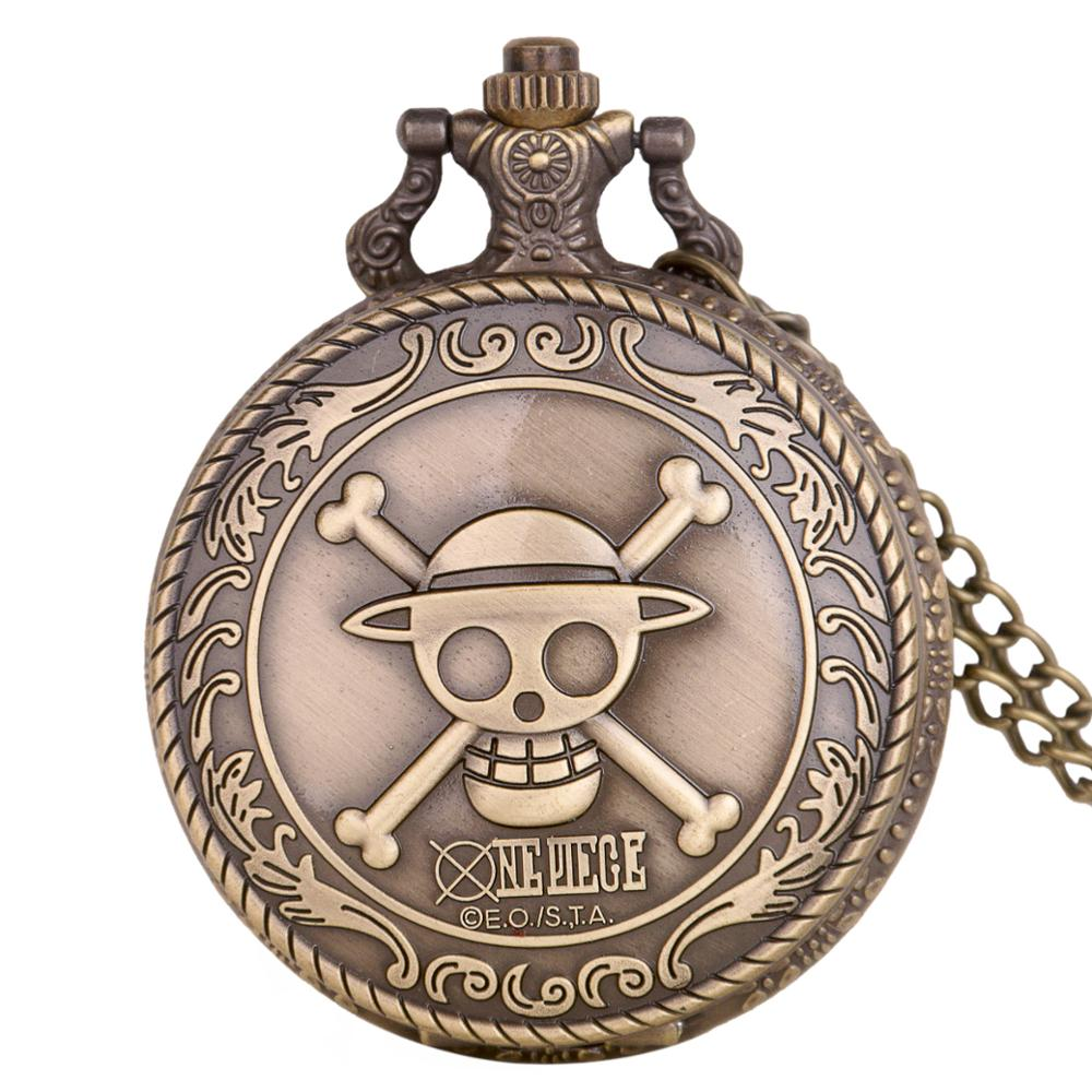 New Fashion Japan Anime One Piece Theme Pattern Quartz Pocket Watch Pendent Necklace Chain Fob Watch Gift Clock Drop Shipping