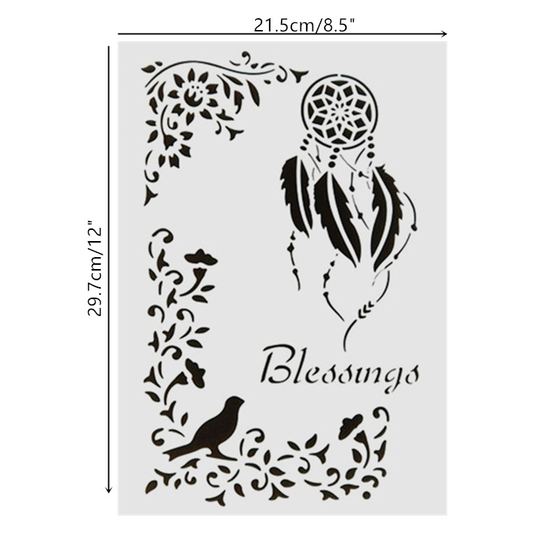 DIY Painting A4 Size Blessing Design Art Stencils Template For Wall Painting Decorative Embossing Paper Cards