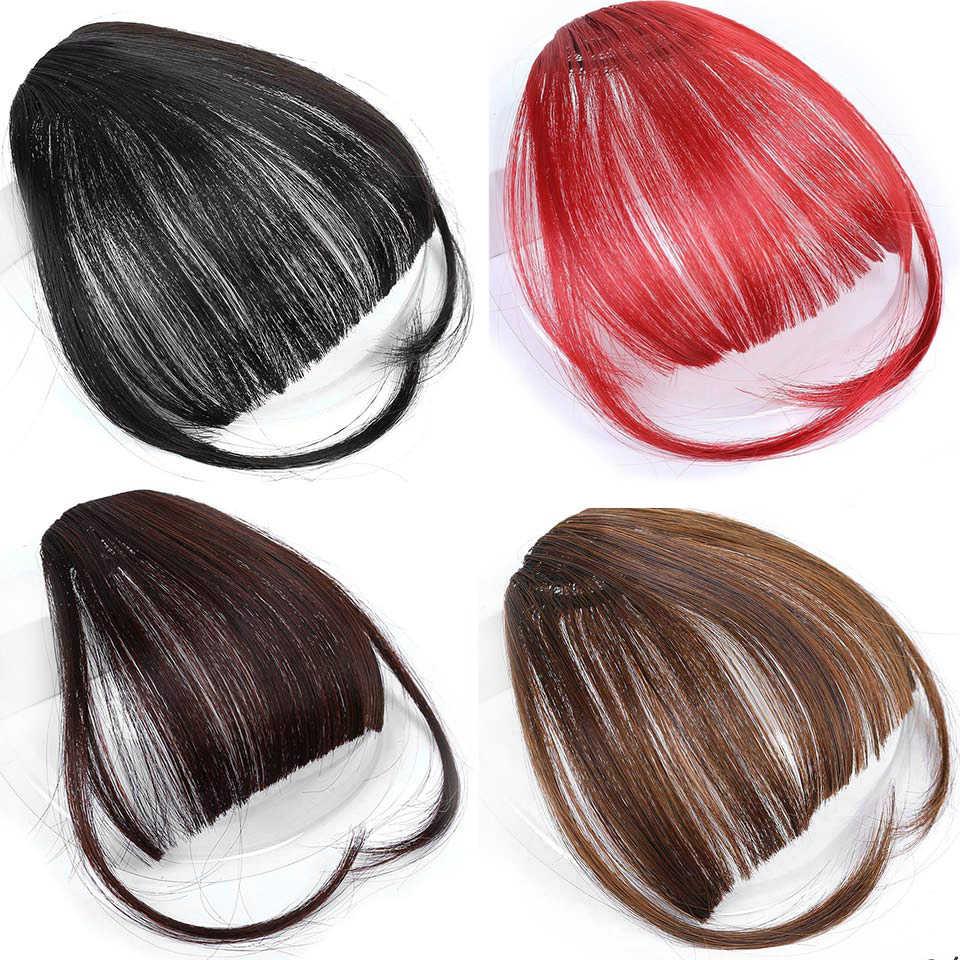 Syntetyczne krótkie grzywki brązowe czerwone srebrne czarne włosy doczepiane clip in Natural air Bangs Hairpiece fałszywe przypinana grzywka peruka dla kobiet