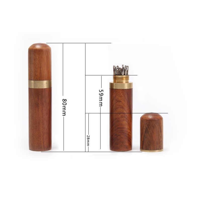 2019 Hot Hand igły do szycia haft naprawianie obudowa Case trwałe praktyczne drewniane pudełko skóra Knitting Craft narzędzia diy