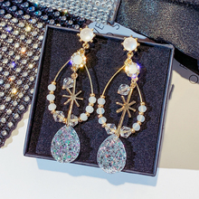 2019 new korean  acrylic zircon tassel earrings brincos oorbellentransparent wholesale womens