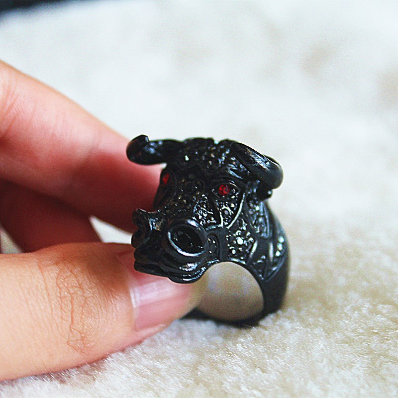 Bull head ring men Gold Black color Stainless steel rhinestones Hip Hop rings jewelry for man