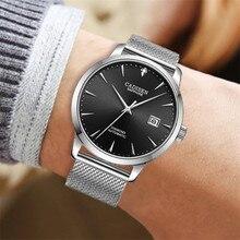 Cadisen Mannen Horloges Mechanische Polshorloge Miyota 9015 Top Merk Luxe Echte Diamanten Horloge Gebogen Saffier Glas Water Klok