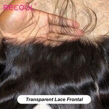 Recool HD שקוף תחרה פרונטאלית סגירת 8 22 Inch רמי ברזילאי ישר שיער טבעי שוויצרית סגר קדמי מראש קטף