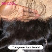 Прозрачная Фронтальная застежка Recool HD 8   22 дюйма, бразильские прямые человеческие волосы без повреждений, Фронтальная застежка, швейцарское кружево, предварительно выщипанные