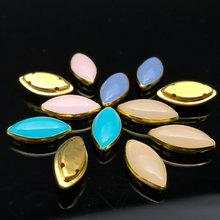 10pcs/lot High Quality 7x15mm Navette Sew On Beads New Acrylic Opal Bead With Gold Claw Setting Horse Eye Jewelry Fancy Stone(China)