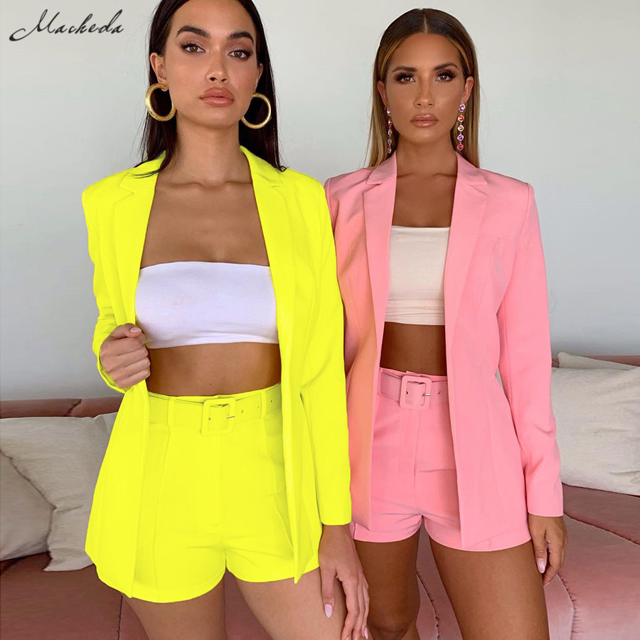Macheda Autumn Women Solid Open Stitch Top And Shorts With Belt Suit 2 Pcs Set Elegant Fashion Clothing Lady Casual Outfit 2019