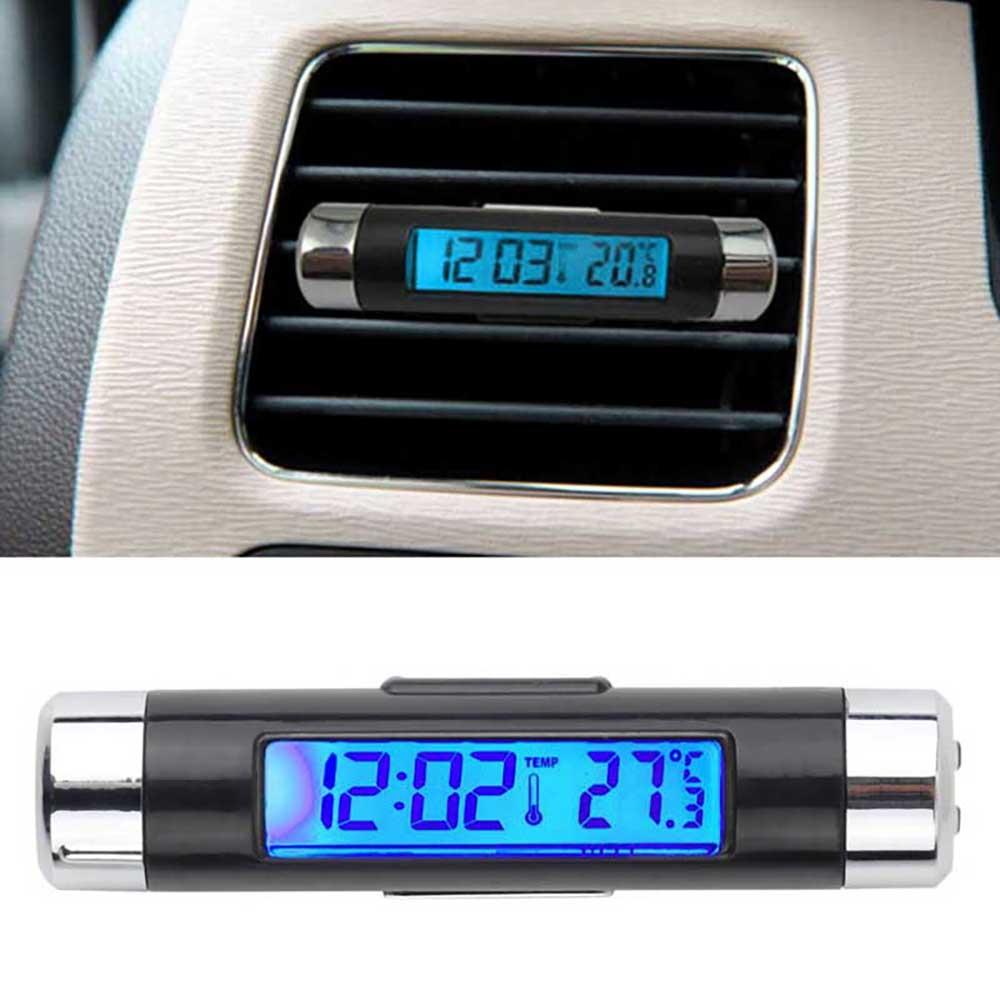 2 in 1 Air Vent Car Thermometer LCD Clock Blue Auto Products Temperature Display Electronic Clock Car Accessories
