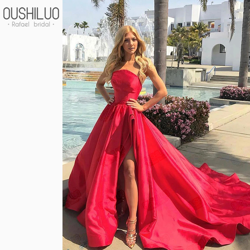 High Slit Prom Dress Split Strapless Red Prom Dress With Slit Open Back Prom Dresses Red Puffy A Line Chapel Train Party Gowns