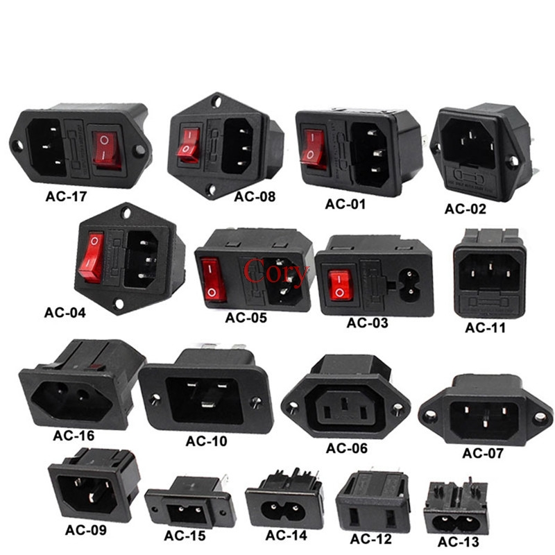 1PC IEC320 C14 Electrical AC Power Socket 3 Pin Red LED 250V Rocker Switch 10A Fuse Female Male Inlet Connector 2pin Socket CZYC