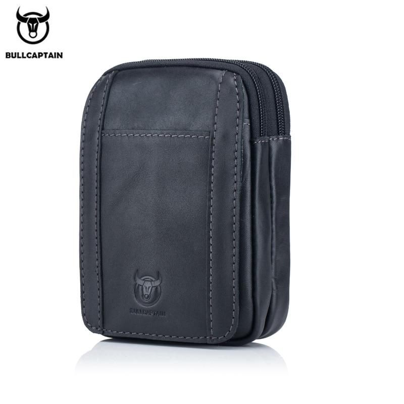 BULLCAPTAIN Leather Men's Casual Waist Bag Cowhide Fashion Hook Waist Bag Suitable For Cigarette Case 5.5 Inch Mobile Phone Bag