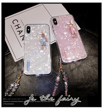 Simple Fresh Case Pattern Epoxy Apple Phone for IphoneXS MAX Lanyard Chain Decoration