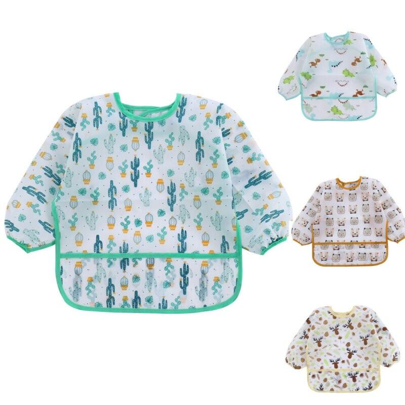 NEW 2020 Baby Kids Toddler Long Sleeve Waterproof Art Smock Feeding Bib Apron Pocket 1-6Y