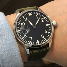 44mm parnis Asian 6497 17 jewels Mechanical Hand Wind movement men's watch lumin