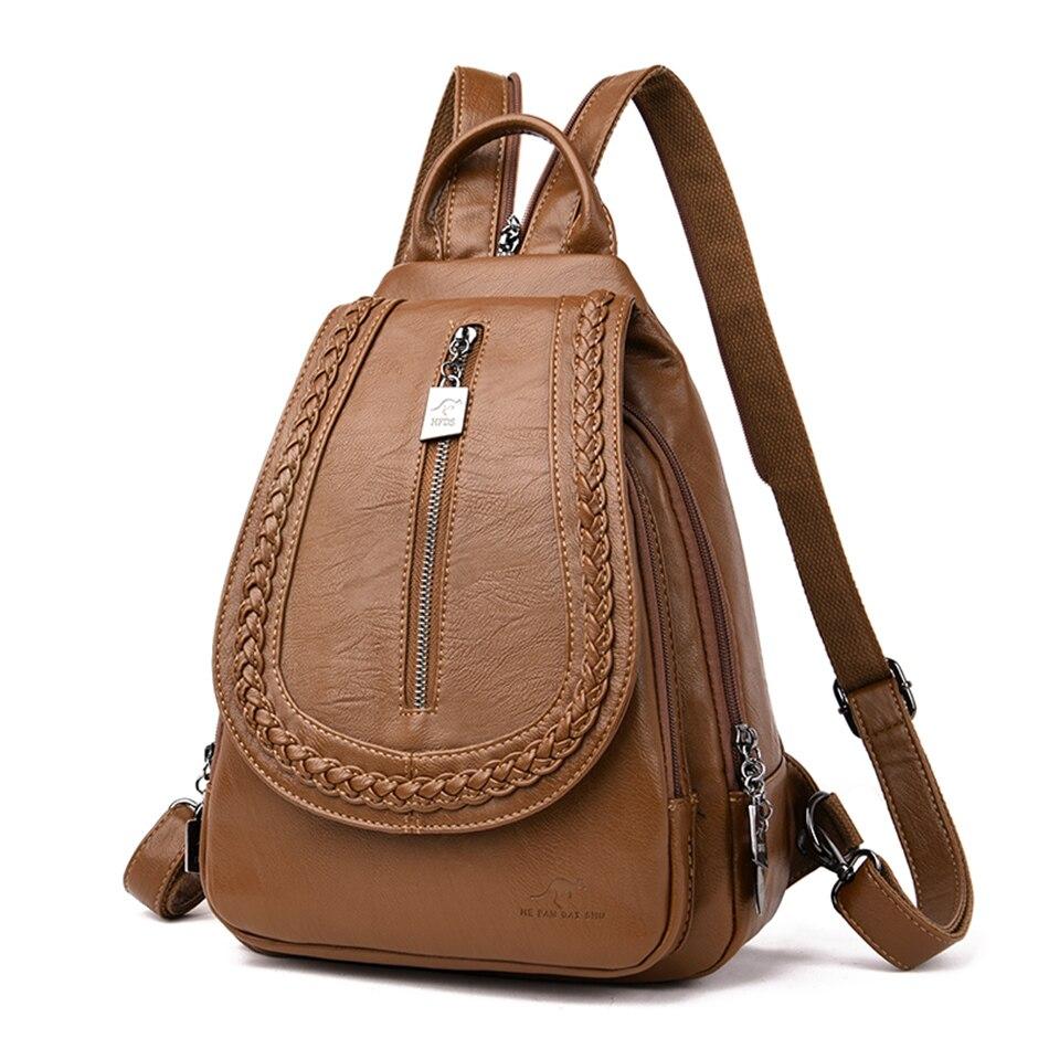 Hf4f417de0ca64dd991b2b26a895b8efcB Women Leather Backpacks Zipper Female Chest Bag Sac a Dos Travel Back Pack Ladies Bagpack Mochilas School Bags For Teenage Girls