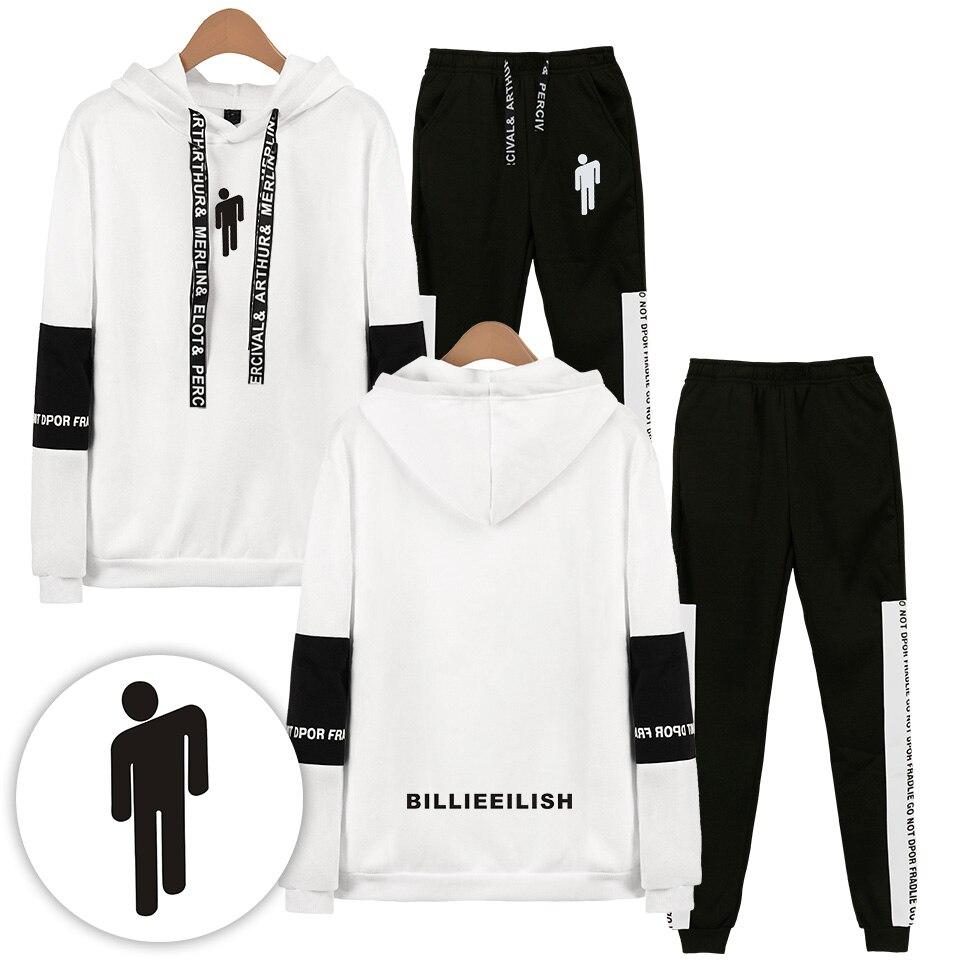 Dropship 2019 Billie Eilish Man Hoodies Suits Hip Hop Hoodies Sweatshirts Hoodies Suit Women Two Peaces Set Unisex Tracksuit