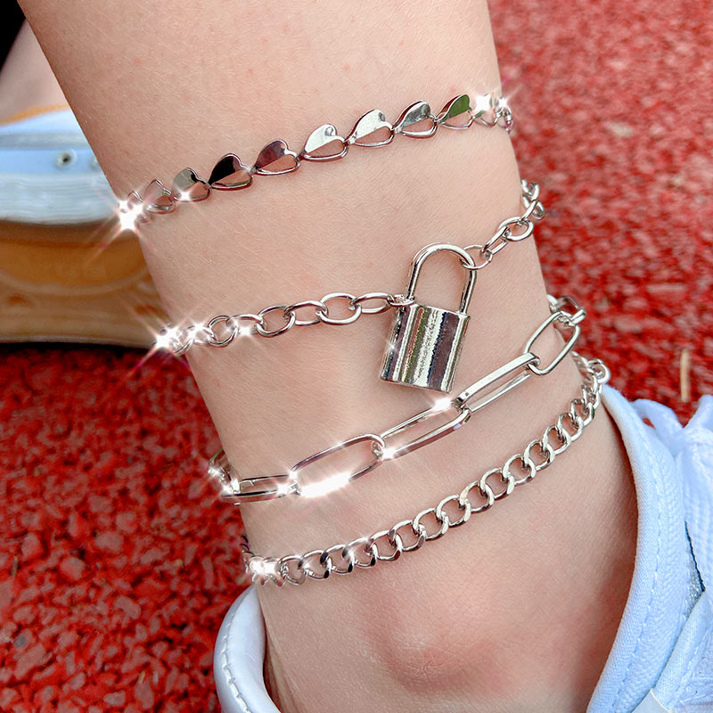 Flatfoosie Creative Hollow Heart-shaped Anklet Bracelet For Women Silver Color Stainless Steel Thick Anklet Personality Jewelry