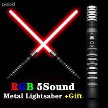 pqbd Lightsaber RGB 11 Color Changing Laser Sword 5 Sets Soundfonts Light Saber Metal Handle Heavy Dueling FX FOC Blaster Toy
