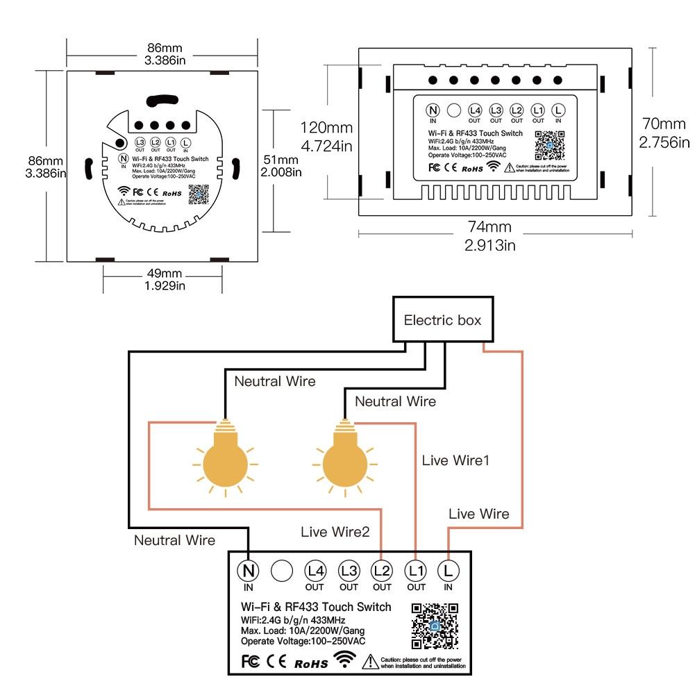 Купить с кэшбэком NEW Upgraded WiFi Smart RF433 Touch Switch 2/3 Way Smart Life/Tuya App Control,Alexa Google Home Voice Control EU US 1/2/3 Gang
