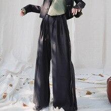 XUXI 2020 Women Spring Korea Can Send Light Coupons, High Waisted Rectal Trousers, Black Women's Long Legged Trousers FZ1124