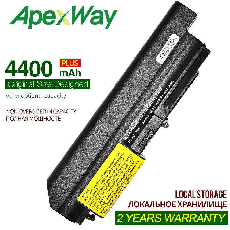 ApexWay 4400mAh11.1v Battery For Lenovo ThinkPad R400 7443  R61 7733  T400 7417 T61 6481 R400  42T4652 ASM 42T5265 FRU 42T4548