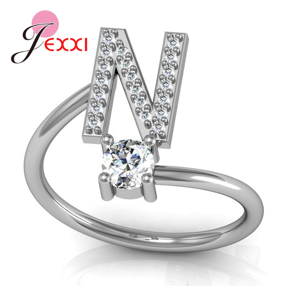 Hot Sale 925 Silver Ring Creative A To Z Initial 26 Letters CZ Crystal Paved Setting Name Jewelry for Women Men Drop Shipping 5
