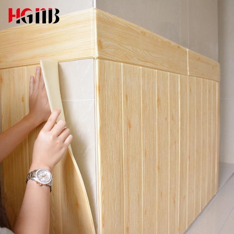 DIY Wood Grain 3D Wallpaper For Living Room Home Decor PE Foam Waterproof Wall Covering Wall Sticker TV Background 3D Stickers