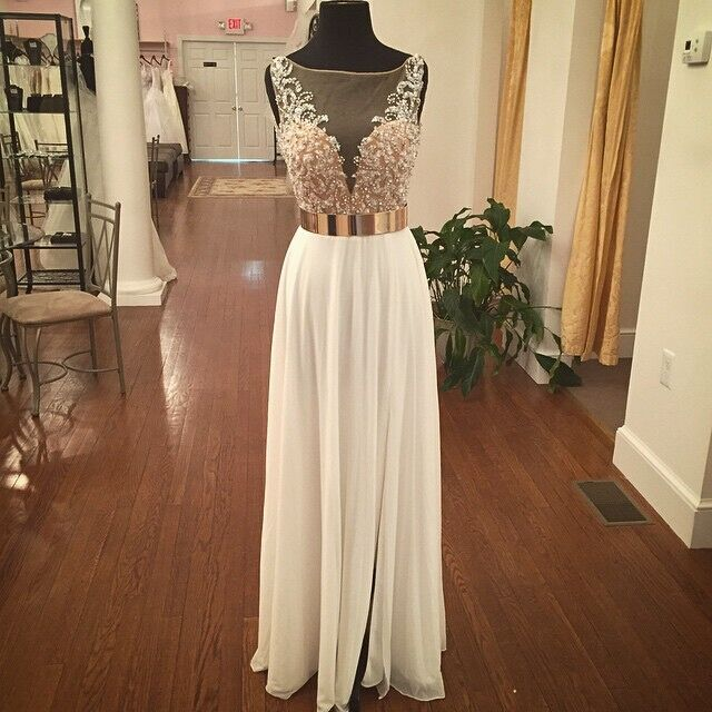 Vestido De Formatura Vestidos Longo Long Prom Gown 2018 Sexy Illusion A-line Floor-length Chiffon Beading Bridesmaid Dresses