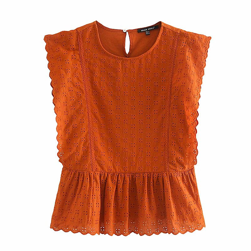 Zevity New women fashion hollow out embroidery ruffles smock blouse ladies chic o neck solid pleats shirts femininas tops LS6835