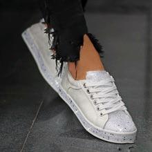 2019 new women flats shoes girls flat lace up shoe woman round toe shiny crystal w58