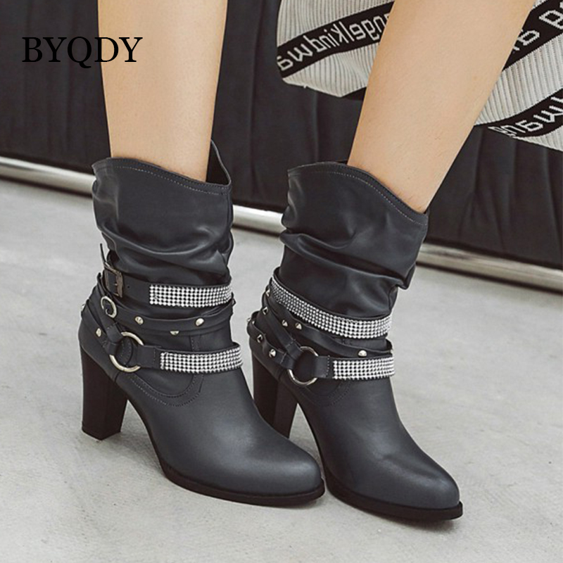 BYQDY Luxury Brand Cowboy Boots Mid-calf Vintage Punk Rivets Buckle Western Plus Size 34-48 Winter Lady Shoes