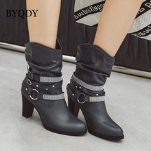 BYQDY Luxury Brand Cowboy Boots Mid-calf Vintage Punk Rivets Boots Buckle Western Boots Plus Size 34-48 Winter Boots Lady Shoes eyelet buckle strap mid calf boots