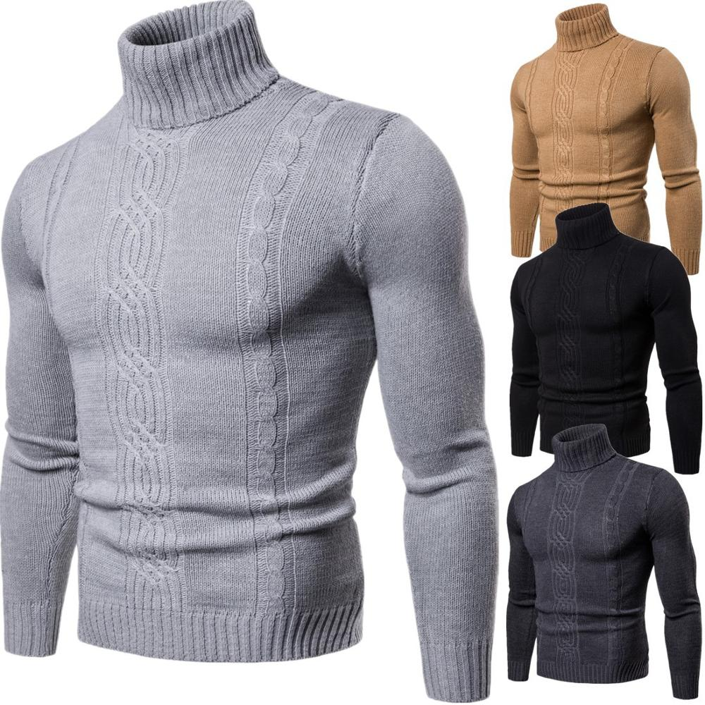 Hot 2019 Fashion Autumn Winter Warmth Turtleneck Men's High Lapel Pullover Bottoming Shirt  Jacquard Knitted Sweater Men XY019