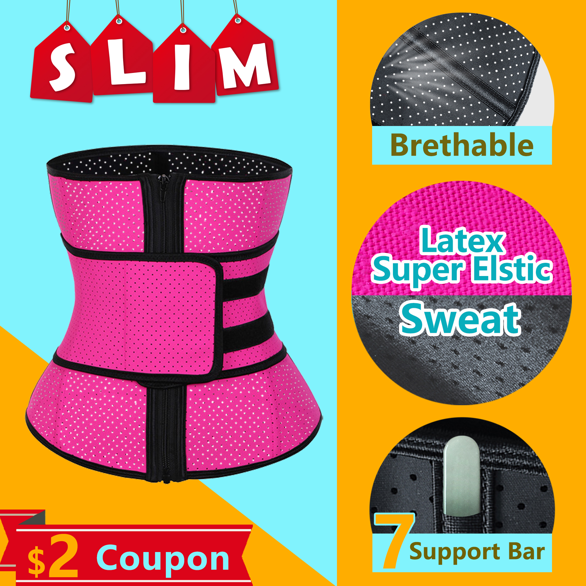 ROEGADYN Loss Sweat Band Wrap Fat Sports Waist Trimmer Belt For Women Waist Trimmer Breathable Fitness CrossFit Waist SupportWaist Support   -
