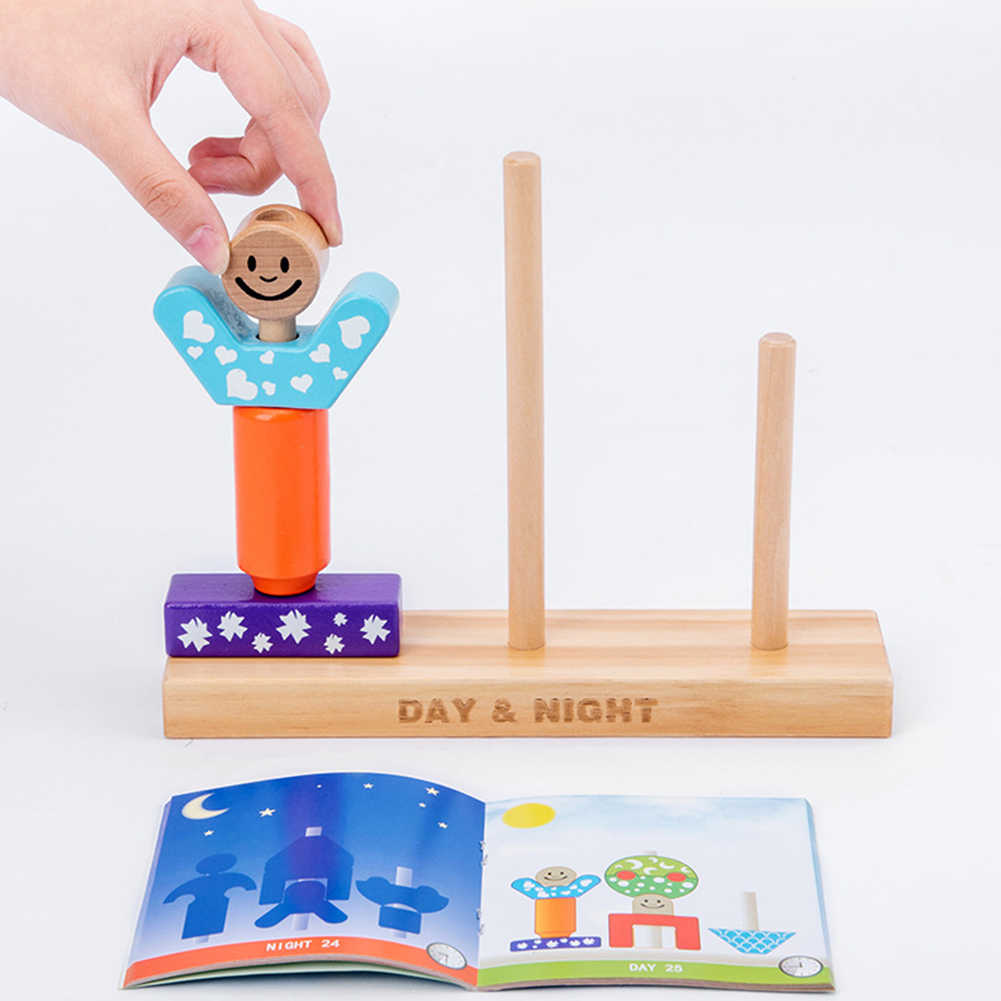 การ์ตูนไม้ Day Night เสาอาคาร DIY การเรียนรู้ของเล่นเด็ก