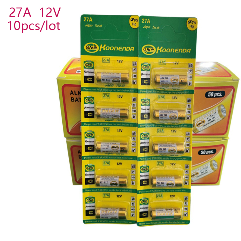 10pcs/2 cartão Seco 27A 12V A27 Bateria Alcalina Para Campainha de alarme de Carro de controle Remoto G27A MN27 MS27 GP27A A27 L828 V27GA ALK27A