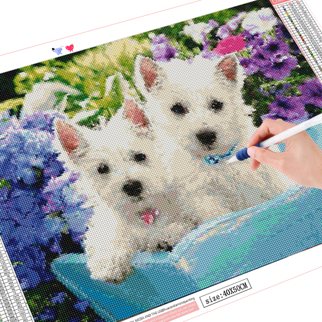 HUACAN Full Square Diamond Embroidery Animal Painting Cross Stitch Dog Round Diamond Mosaic Picture Handcraft Home
