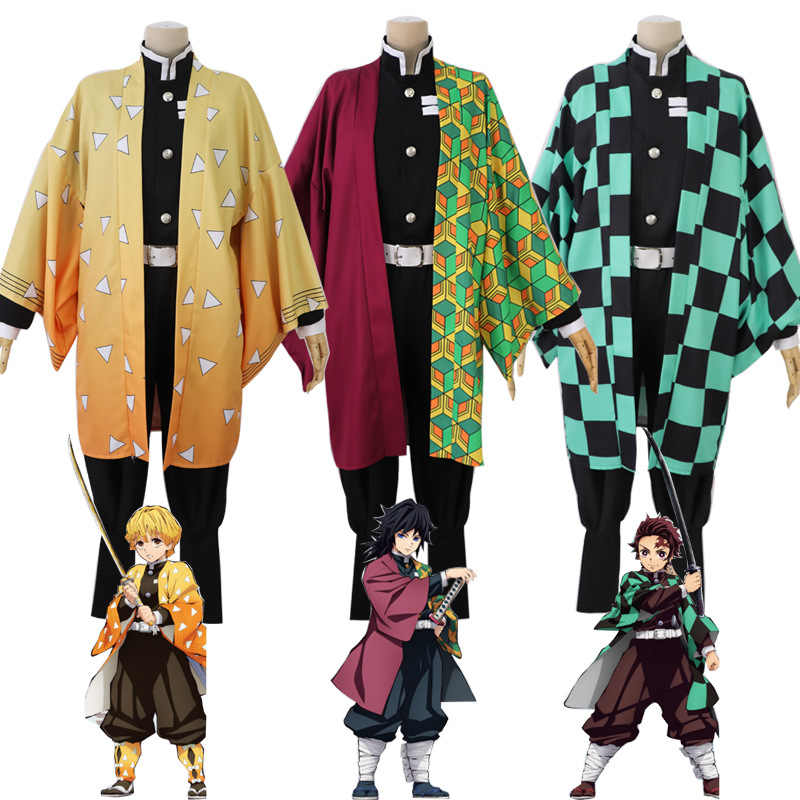 Anime Demon Slayer Kimetsu Tidak Yaiba Tanjiro Kamado Cosplay Kostum Halloween Acara Pesta Cosplay Set Suit Kimetsu Tidak Yaiba Set