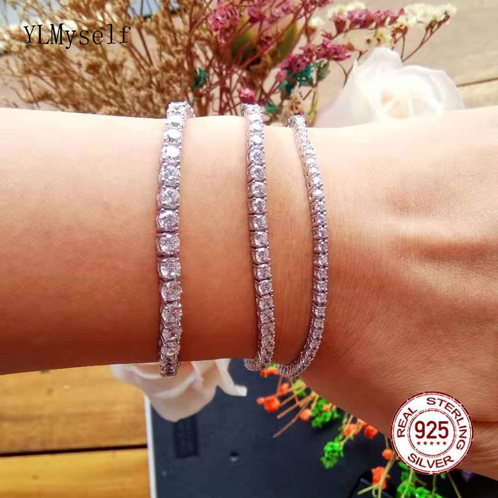 17.5 Cm Tennis Bracelet Pure 925 Silver Material Jewelry 2-4mm 5A CZ Eternal Gift For Wife Shiny  Real Sterling Silver Bracelets