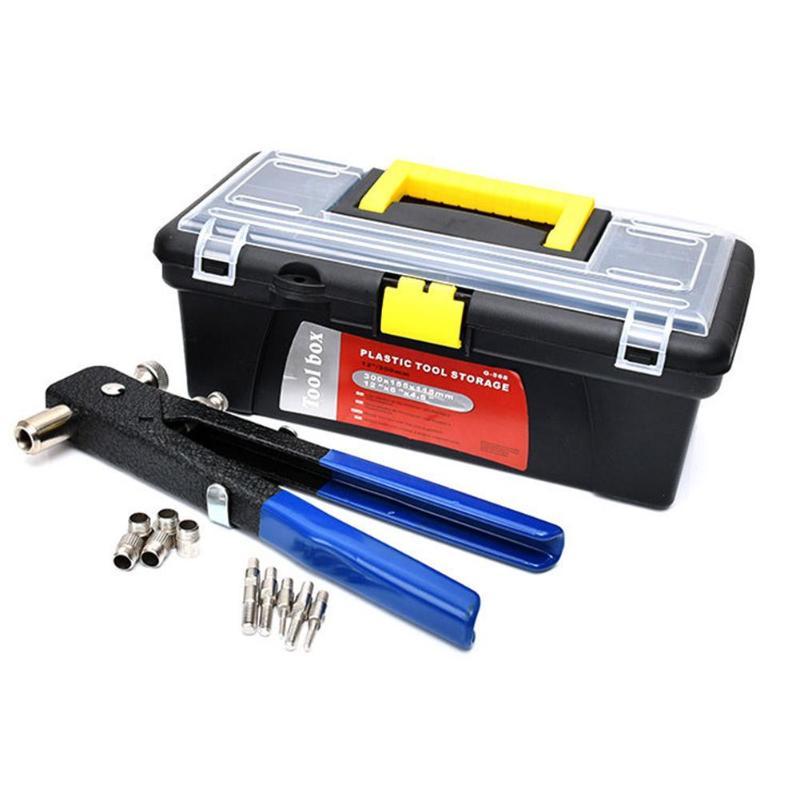 464pcs Hand Riveter Nut Rivet Gun Kit Manual Threaded Nut Gutter Repair Tools For Furniture Maintenance Shipbuilding