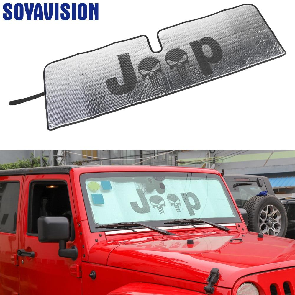 Frente do carro anti uv ray janela sol pára-sol sombra capa para jeep wrangler tj jk 1997-2017 acessórios do carro estilo