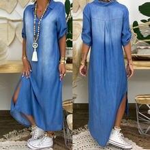 Женское летнее джинсовое платье Ковбойское длинное с коротким