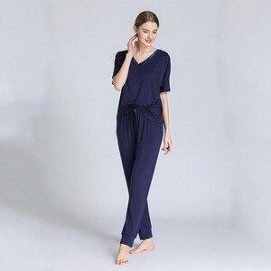 Image 2 - スリーブvネックパジャマ女性モーダル半袖ズボンツーピースルース大型ホーム服薄型パジャマ女性lenceria