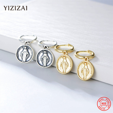 YIZIZAI Women 925 Sterling Silver Virgin Mary Oval Coin Medal Charm Christian Prayer Jesus Earrings Golden Huggie Circle Hoops