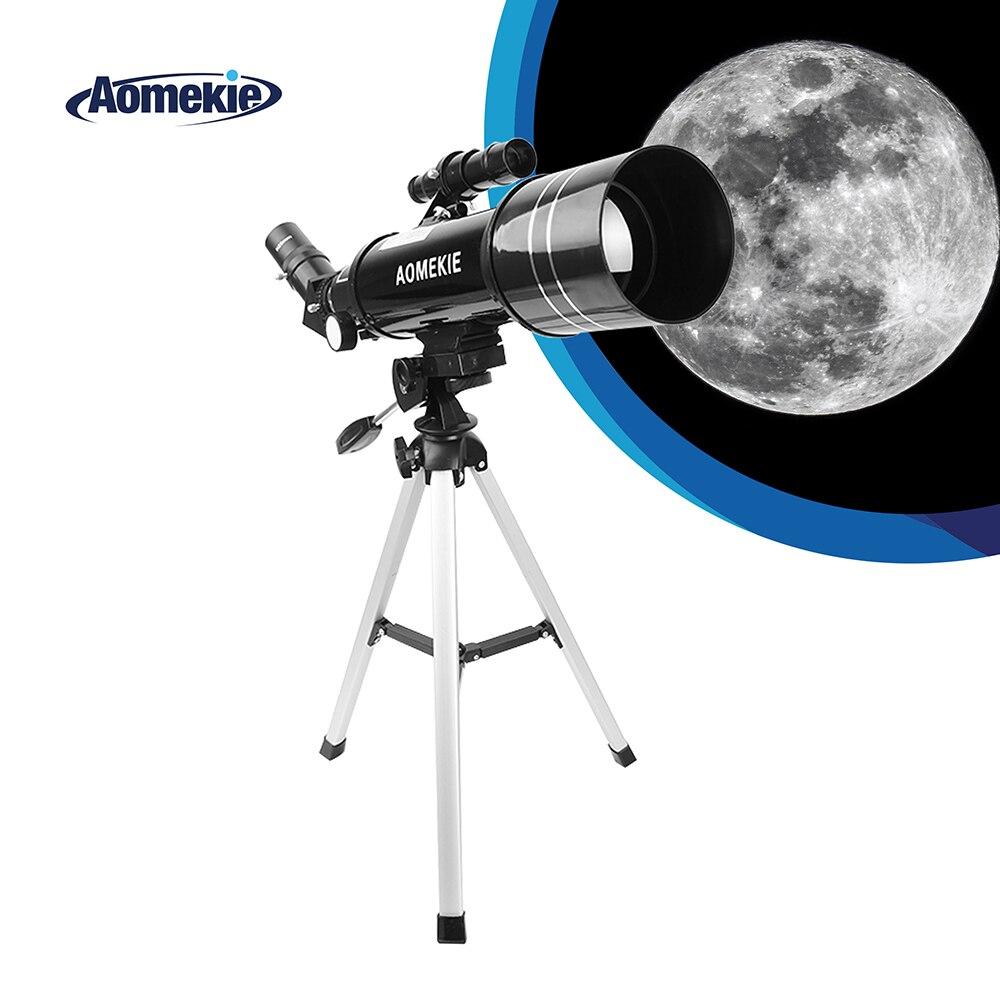 Telescopio AOMEKIE de 400mm de longitud Focal con HD 70mm de lente grande trípode compacto 16X/66X para secesería al aire libre Luna viendo niños regalo Varilla telescópica portátil de 110cm/150cm, bolsillo mágico de Metal para artes marciales, varita de acero elástica para exteriores para coche, palo Anti-Lobo