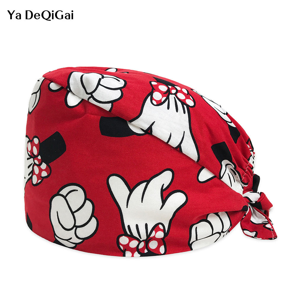 Unisex Medical Surgical Hat Scrubs In Different Patterns Surgical Caps Cartoon Printing Beauty Salon Hats Factory Sales Directly