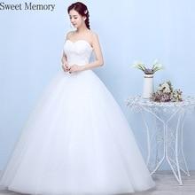Sweet Memory 2021 Women White Simple Wedding Dress Bride Plus Size Lace Up Wedding Party Dresses Floor-Length Robe Vestidos