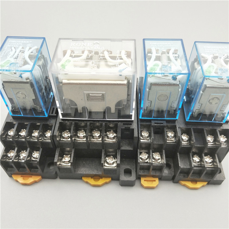 5 Pcs HH54PL 4PDT 14 Pin Red LED General Purpose Power Relay w Socket Coil AC 24