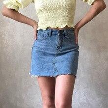 Hzerip الصيف موضة عالية الخصر التنانير النسائية جيوب زر الدنيم تنورة الإناث Saias 2020 جديد كل مطابقة جينز غير رسمي تنورة